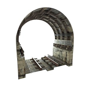 subway tunnel rail 3D model