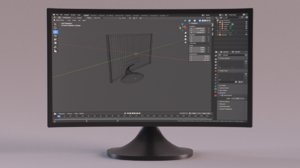 curved monitor screen 3D model