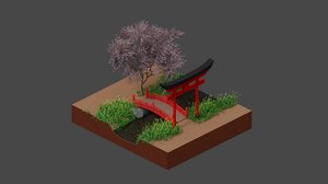 japan bridge sakura tree 3D