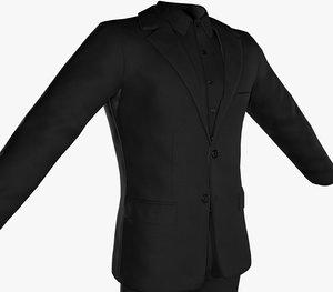 3D black suit pants shoes model