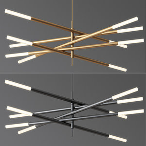 rousseau articulating led chandelier 3D model