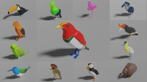 3D exotic birds pack 13 model