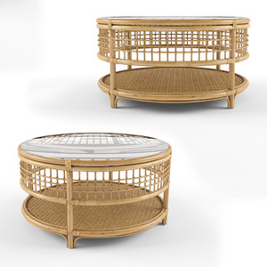 beverly rattan coffee table 3D model
