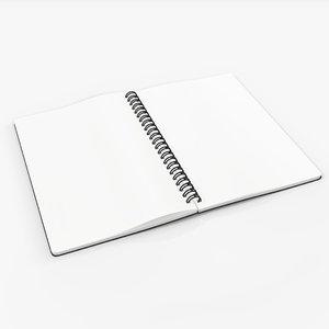 3D model spiral sketchbook book