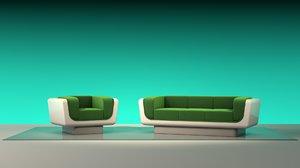 3D model s retro sofa armchair