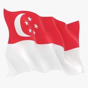 realistic singapore flag 3D model