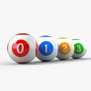 balls set pbr bingo 3D model