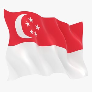 singapore flag animation 3D model