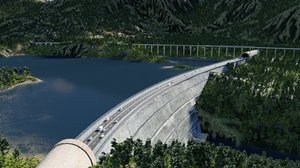 3D lake dam blender model