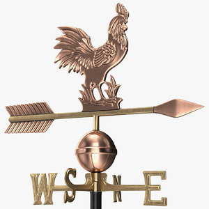 copper rooster weathervane 3D model