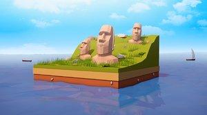 cartoon statues 3D model