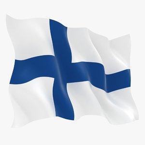 realistic finland flag model