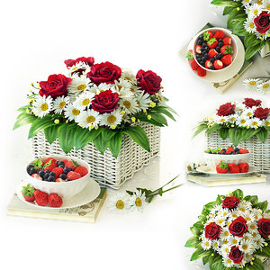 3D model decoration flowers rose