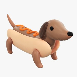 3D bun dog puppy