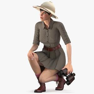 women safari costume crouching 3D model