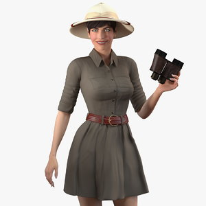 3D women safari costume binoculars model