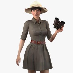3D women safari costume binoculars model