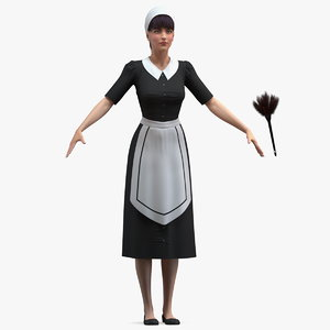 3D housekeeping maid t pose