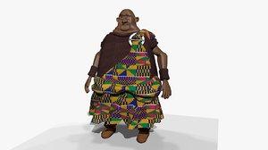 rigged cartoon ghanaian king 3D model