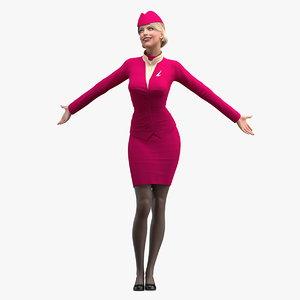 flight attendant maroon dress 3D model