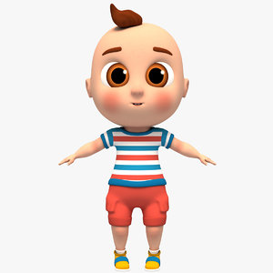3D baby rig animation character model