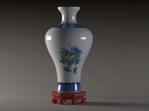 blue white porcelain plum 3D model