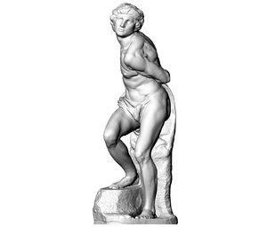 3D rebellious slave statue
