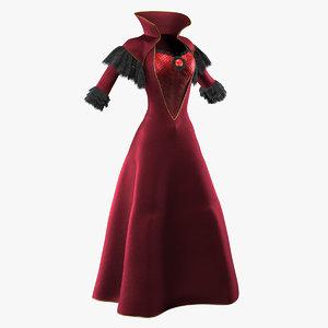 3D red vintage dress