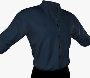 3D blue suit shirt rolled model