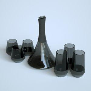 black carafe glasses 3D model