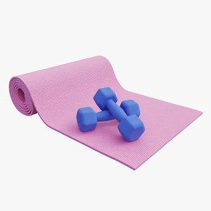 3D mat yoga dumbbell