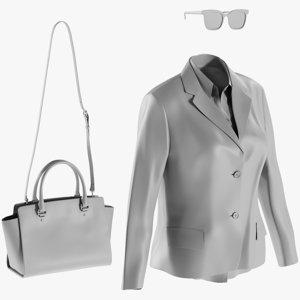 3D mesh women s blazer model