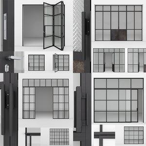 aluminium door x4 2 3D