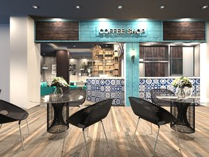 3D model coffee shop