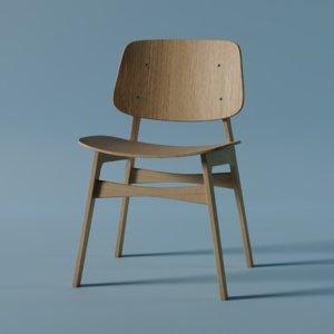 wood base chair 3D model