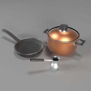 3D kitchenware pan skillet