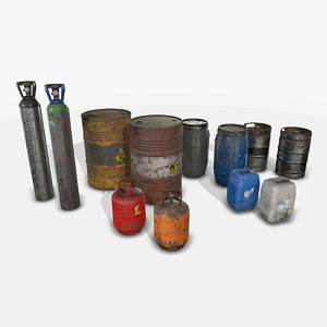 3D barrels drums containers -