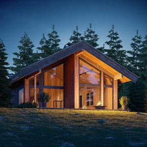 3D cabin dusk complete scene