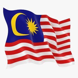 3D malaysia flag animation model
