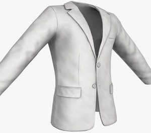 3D model white blazer jacket