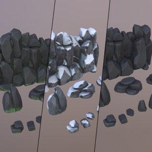 3D rocks boulders