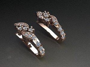 3D silver earrings model