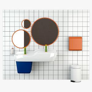 3D vitra sento kids bathroom set model
