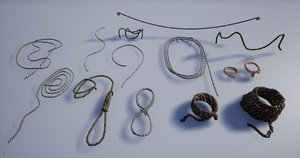 set various medieval ropes model