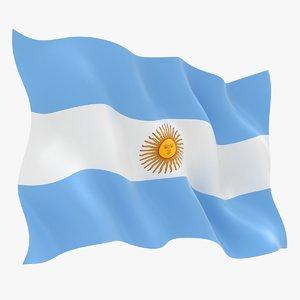 3D realistic argentina flag model