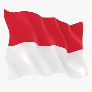 realistic indonesia flag 3D