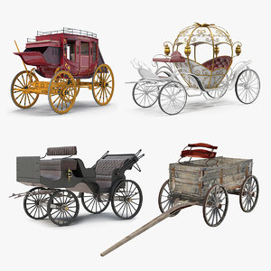 carriages 2 wagon vehicles 3D