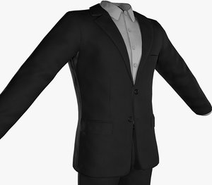3D model black suit white shirt