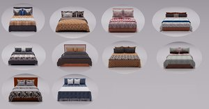 3D pillow beds furniture model