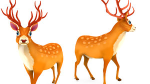 3D cartoon deer rigged animation